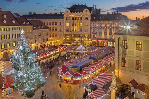 Wallpaper Mural BRATISLAVA, SLOVAKIA - NOVEMBER 28, 2016: Christmas market on the Main square in evening dusk
