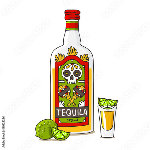 Fotografia Bottle of tequila with lime
