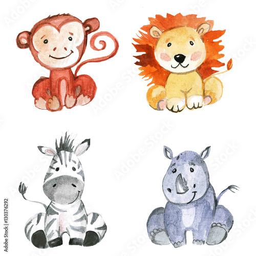 Cute baby animals for kindergarten, nursery, children clothing, pattern
