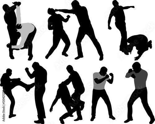 Leinwand Poster Street fight people silhouettes - vector