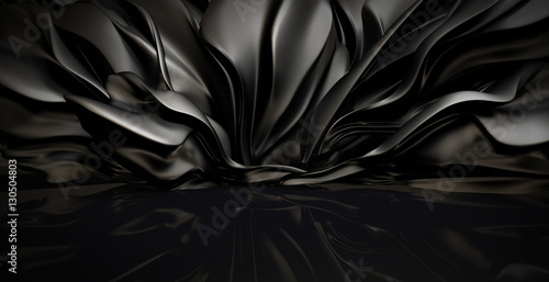 Beautiful stylish black background with developing, flying cloth