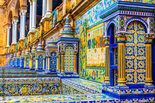 Fototapeta premium Kafelkowe ściany Plaza de Espana. Sewilla. Hiszpania.