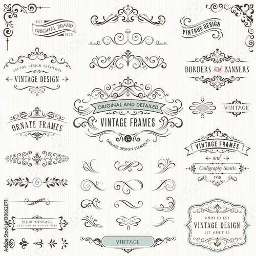 Ornate vintage design elements withcalligraphy swirls, swashes, ornate motifs and scrolls. Frames and banners.