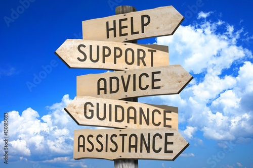 Fototapeta Signpost - customer support - help, support, advice, guidance, assistance