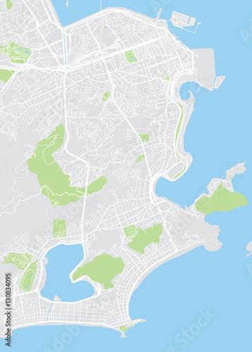 Fotografie, Obraz Vector detailed map Rio de Janeiro