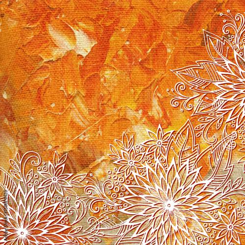 Wzór Kwiatowy, Symboliczne Kwiaty I Liście, Abstrakcyjny Ornament Konturowy, Białe Kontury Na Kolorowym Tle Ręcznie Rysowanej Farby Olejnej