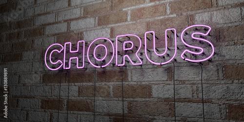 Obraz na płótnie CHORUS - Glowing Neon Sign on stonework wall - 3D rendered royalty free stock illustration