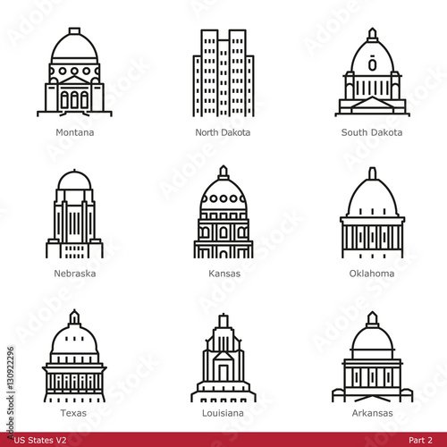 Fotomural US State Capitols (Part 2) - Line Style Icons