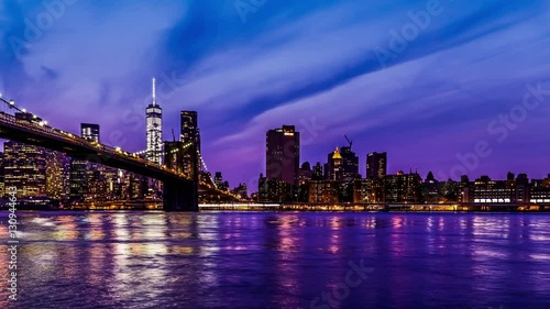At evening,the World Trade Center and the Brooklyn Bridge, New York City, NY