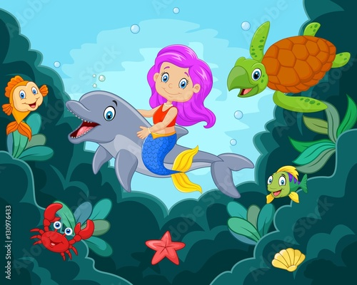 Cartoon little mermaid playing with dolphin