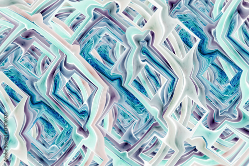Abstract intricate fractal texture in blue and grey colors. Digital art. 3D rendering.
