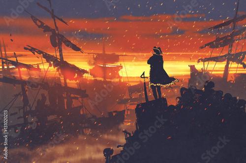pirate standing on treasure pile against ruined ships at sunset,illustration pai Fototapeta