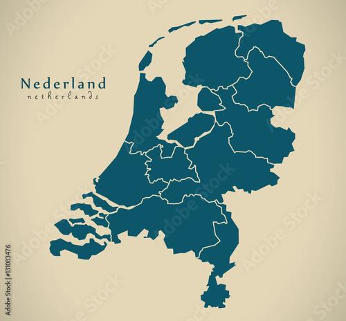 Wallpaper Mural Modern Map - Netherlands with provinces NL illustration