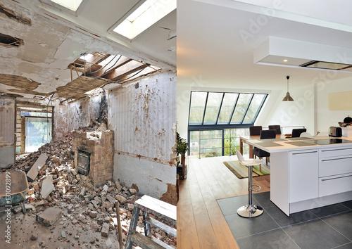 Carta da parati Modern open kitchen in renovated house