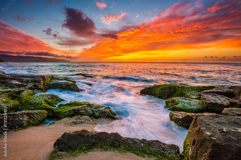 Piękny Hawajski zmierzch na Północnym brzeg Oahu <span>plik: #131129817 | autor: shanemyersphoto</span>