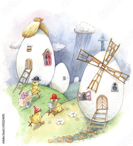 Easter house, chicken, eggs, watercolor
