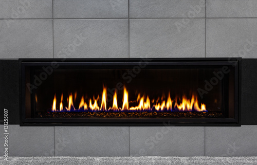 Canvas Print Modern gas fireplace