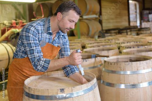 Cooper making barrel