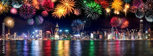 Photo Feuerwerk Panorama am Victoria Harbour in Hongkong, China