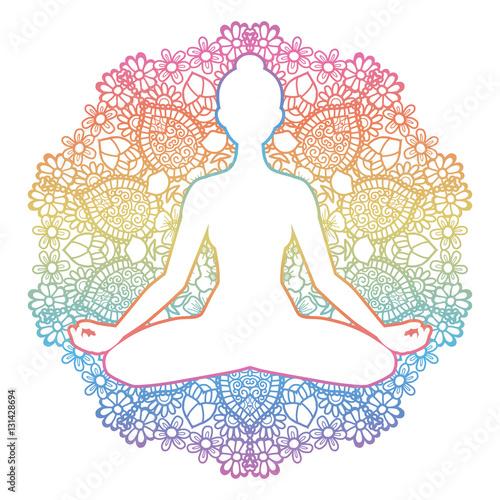 Fototapeta Women silhouette. Yoga lotus pose. Padmasana.