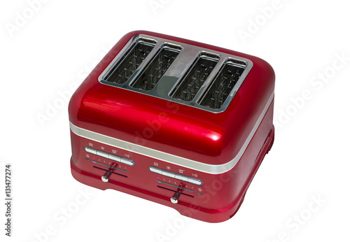 vivid red four bread slices toaster isolated on white background, view from above