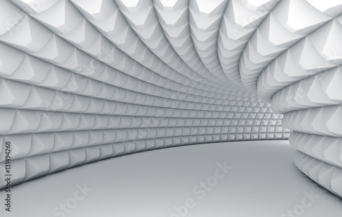 Foto mural Abstract white tunnel with pyramid textured walls.