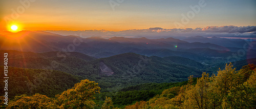 Fotografia Blue Ridge Parkway summer Appalachian Mountains Sunset
