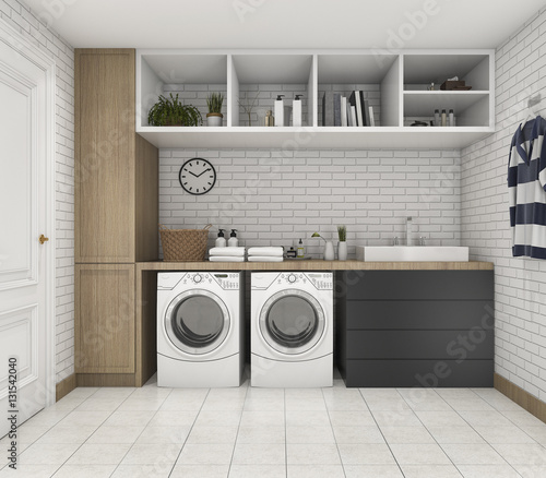 Fotografie, Obraz 3d rendering wood minimal laundry room with shelf and plant
