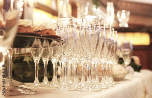Wine glasses on the table served for the reception in the restau