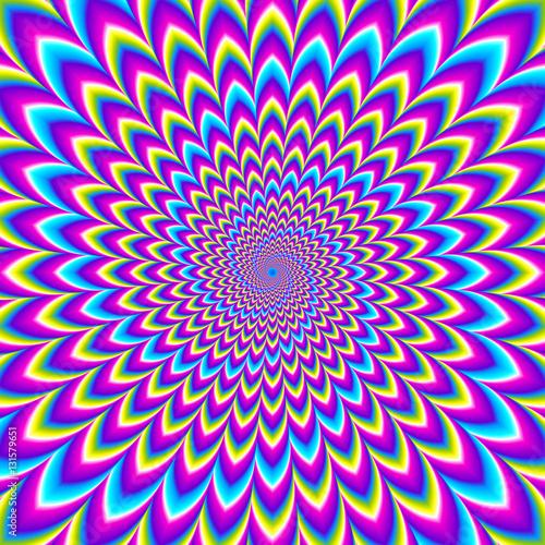 Photographie Iridescent background with spirals. Motion illusion.
