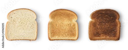 фотография Set of three slices toast bread isolated on white