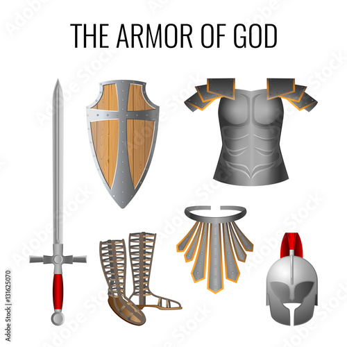 Obraz na plátne Armor of God elements set isolated on white. Vector