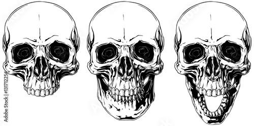 White graphic human skull with black eyes set