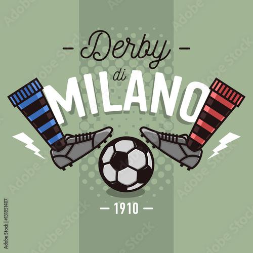 Carta da parati Milanese Derby Label Design. Soccer Boots And Ball Flat Thin Lin