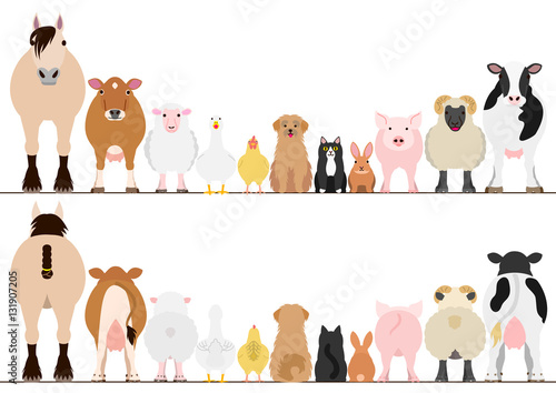 Stampa su Tela farm animals border set, front view and rear view