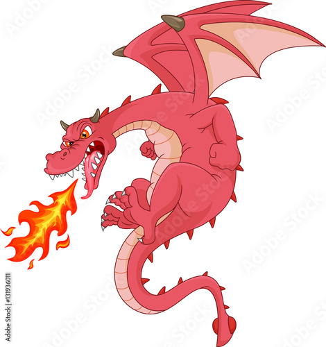 Fototapeta angry dragon cartoon