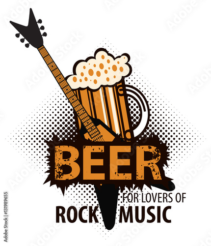Tableau sur Toile beer for lovers of rock music with a glass and electric guitar