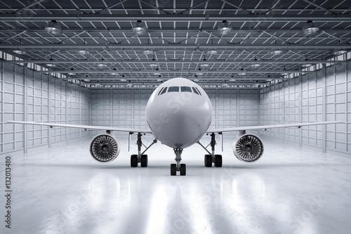 airplane in hangar Fototapeta