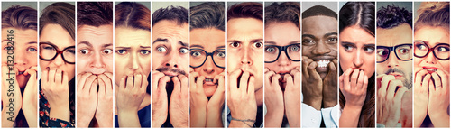Fotografía Group of multiethnic anxious people biting fingernails nervous stressed