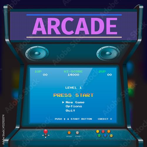 Cuadros en Lienzo Retro arcade game machine. Vector illustration.