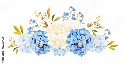 Fotografia, Obraz Blue white jadmine, hydrangea, rose flowers wedding watercolor b