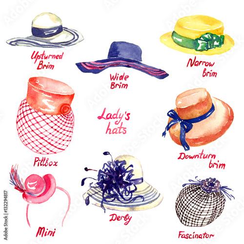 Fényképezés Lady's hats types: Upturned Brim, Wide Brim, Narrow Brim, Downturn Brim, Pillbox