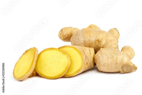 Ginger root isolated on a white background Fototapeta