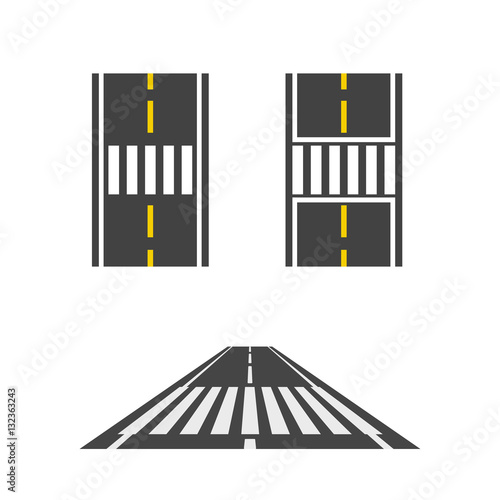 Slika na platnu Pedestrian crossing on road top and perspective view vector illustration, crossw