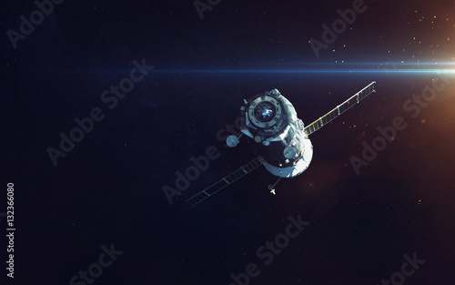 Spacecraft. Cosmic art, science fiction wallpaper. Beauty of deep space. Billions of galaxies in the universe. Elements of this image furnished by NASA