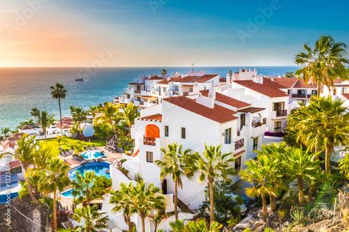 Carta da parati Puerto de Santiago city,  Atlantic Ocean coast, Tenerife, Canary island, Spain