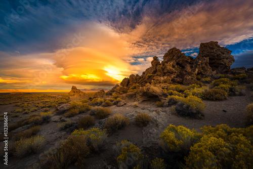 Fotografia Pyramid Lake Nevada Tufas at Sunset