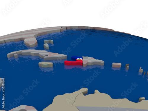 Canvastavla Haiti with flag