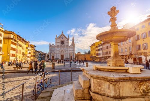 Fototapeta FIRENZE,ITALY/JANUARY 03,2012: Florence-Square and the Basilica