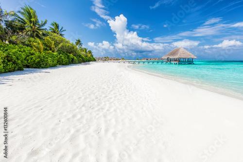 Carta da parati Wide sandy beach on a tropical island in Maldives. Palms and wat